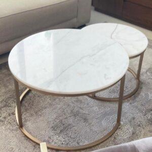 Komplet stolików marmurowych Bianco Carrara