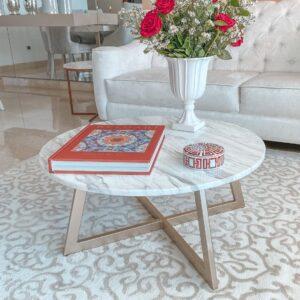 Stolik kawowy z blatem marmurowym Bianco Carrara 70