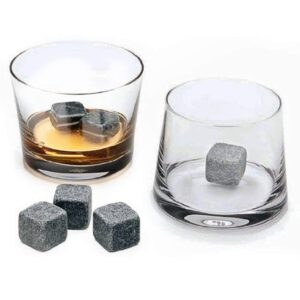 Kamienne kostki do drinków 9 szt. ciemne w lnianym woreczku