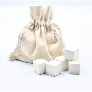 Kamienne kostki do drinków 9 szt. białe w lnianym woreczku